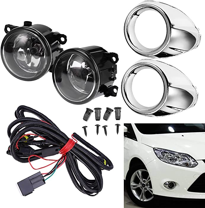 Clear Lens Driving Fog Lights Bumper Lamps Bulbs Harness Bracket for Ford Focus S SE SEL Titanium 2012-2014 w/Harness (1 Pair, Left + Right)