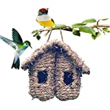 Hummingbird House for Outside, Hanging Bird Hideaway Nest Hand-Woven Bird House Roosting Pocket for Wren Sparrow Canary…