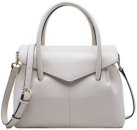 94cbff79fac5 Buy BOYATU Real Leather Handbag for Women Elegant Business Satchel Top  Handle Bag (Off White) Online at Low Prices in India - Amazon.in