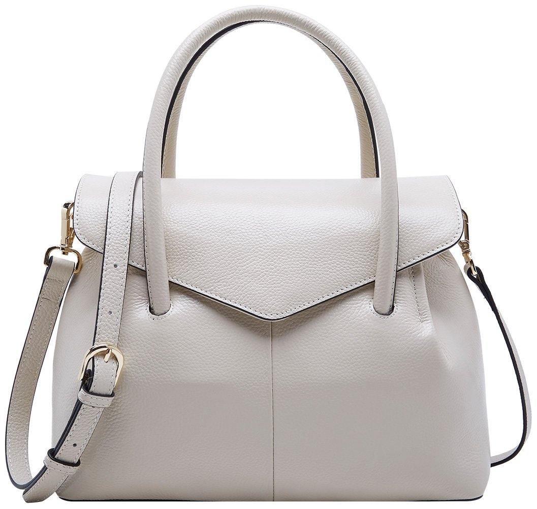 BOYATU Real Leather Handbag for Women Elegant Business Satchel Top Handle Bag (Off White)