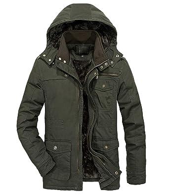 c168a8518 Heihuohua Men s Winter Parka Jacket Military Cotton Coat with ...