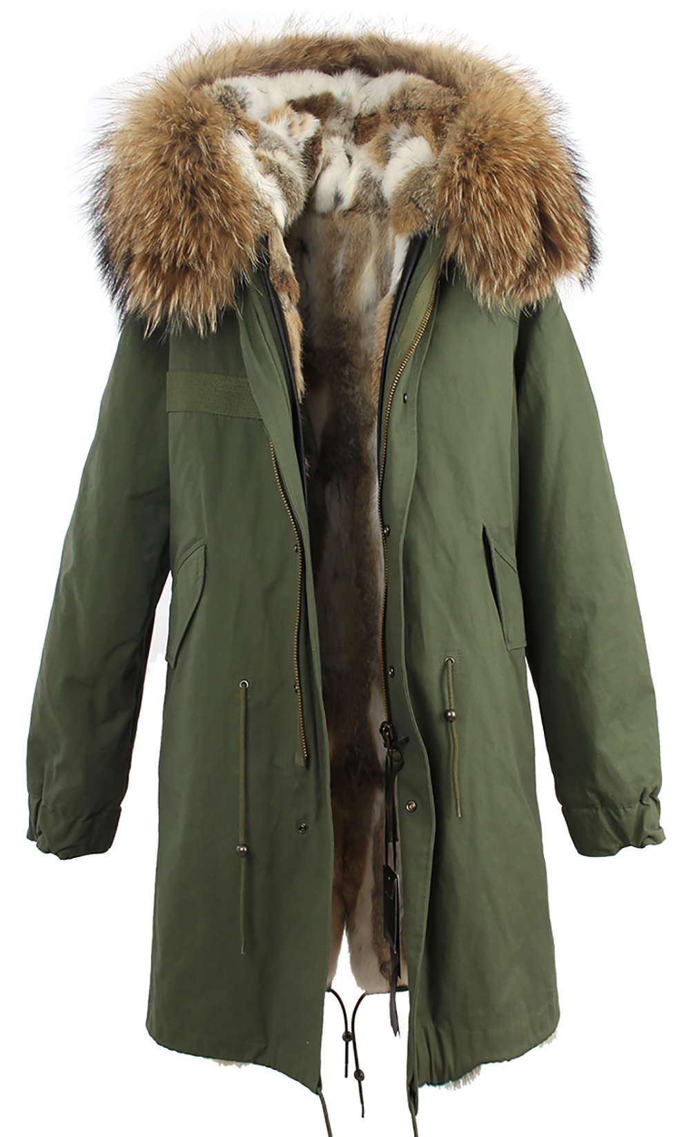 S.ROMZA Women Real Rabbit Fur Parka Upscale Long Hooded Coat Detachable Jacket Real Fur Liner (X-Large, Army Green & White Fur)
