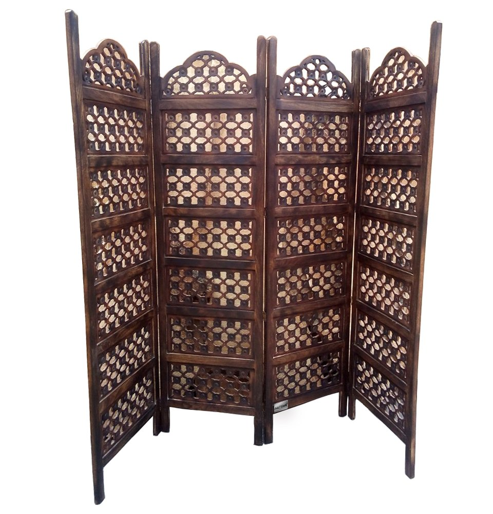 partition screen amazoncom rustic dark brown wood louvered  - wooden partition screen room divider privacy screen wooden