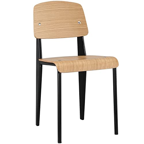 Modway Cabin Modern Wood and Metal Kitchen and Dining Room Chair in Natural Black
