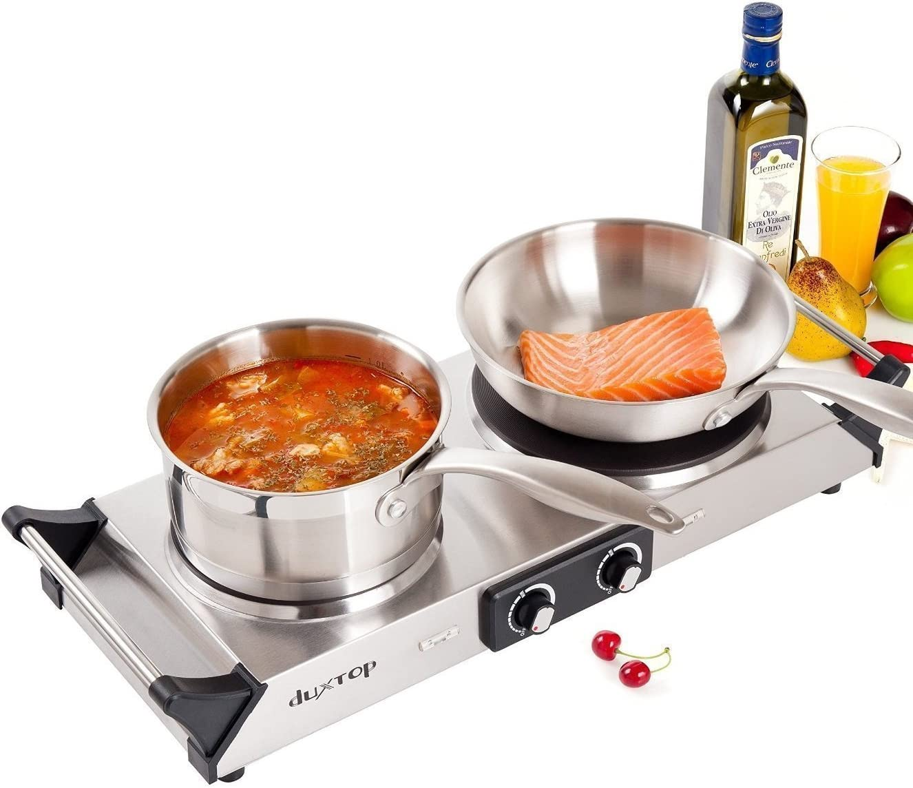 Duxtop Hot Plate Double Cast-Iron Electric Burner Cooktop with Adjustable Temperature Control, 1800W, Metal Housing, Indicator Light 2 Years Warranty