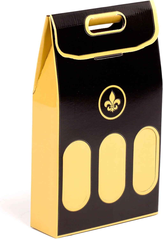 (10x) Estuche para 3 Botellas de Vino especial Regalos Navidad. Automontable con Asas. | TeleCajas.com