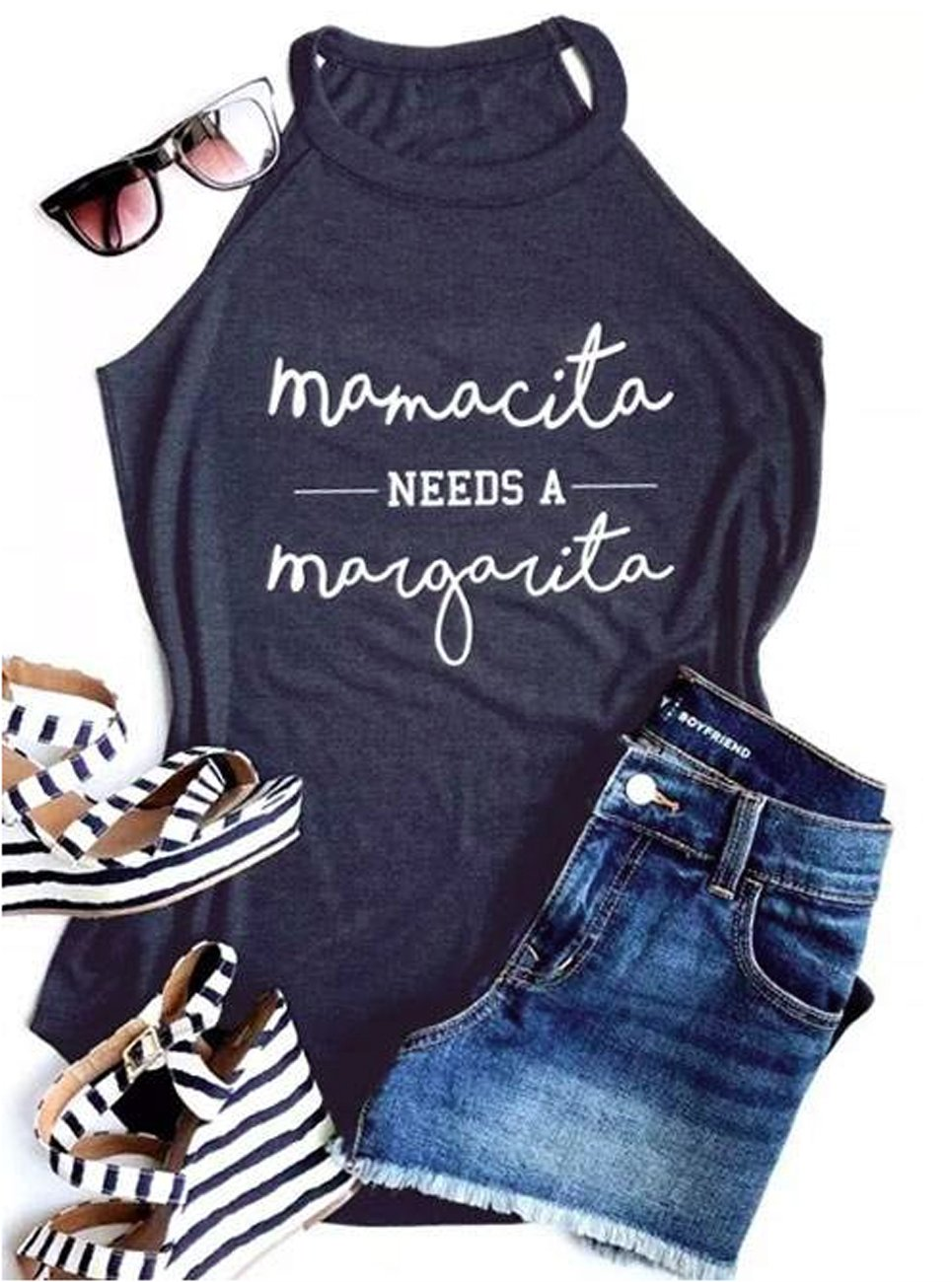 Mamacita Needs a Margarita Funny Tank Tops Women Crew Neck Sleeveless Shirt Cami Size L (Gray) by FAYALEQ (Image #1)