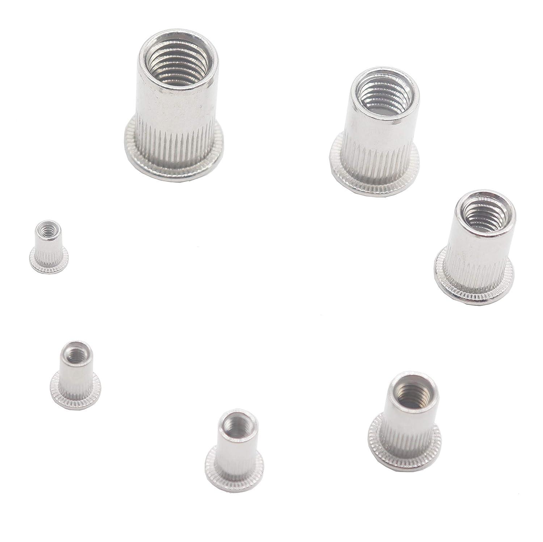 binifiMux 90pcs 304 Stainless Steel Metric Flat Head Threaded Rivet Nut Nutsert Assortment Kit M3// M4// M5// M6// M8// M10// M12