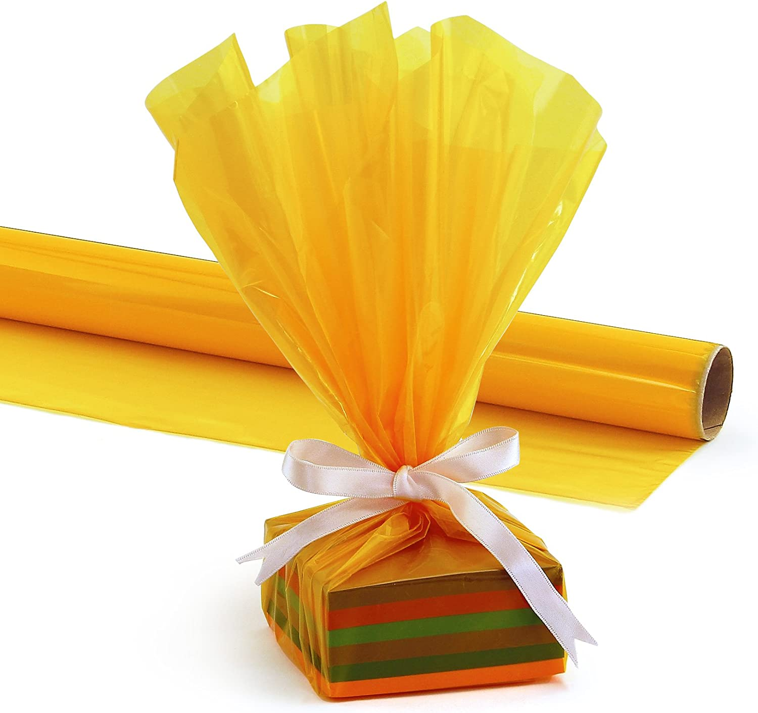 20-Inch by 5-Feet HYGLOSS 7608 Cello Gift Wrap Roll Yellow