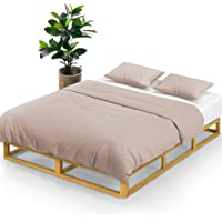 Zinus Industrial Pine Wood Double Bed Frame | Low Bed Base Mattress Foundation - Natural 20cm