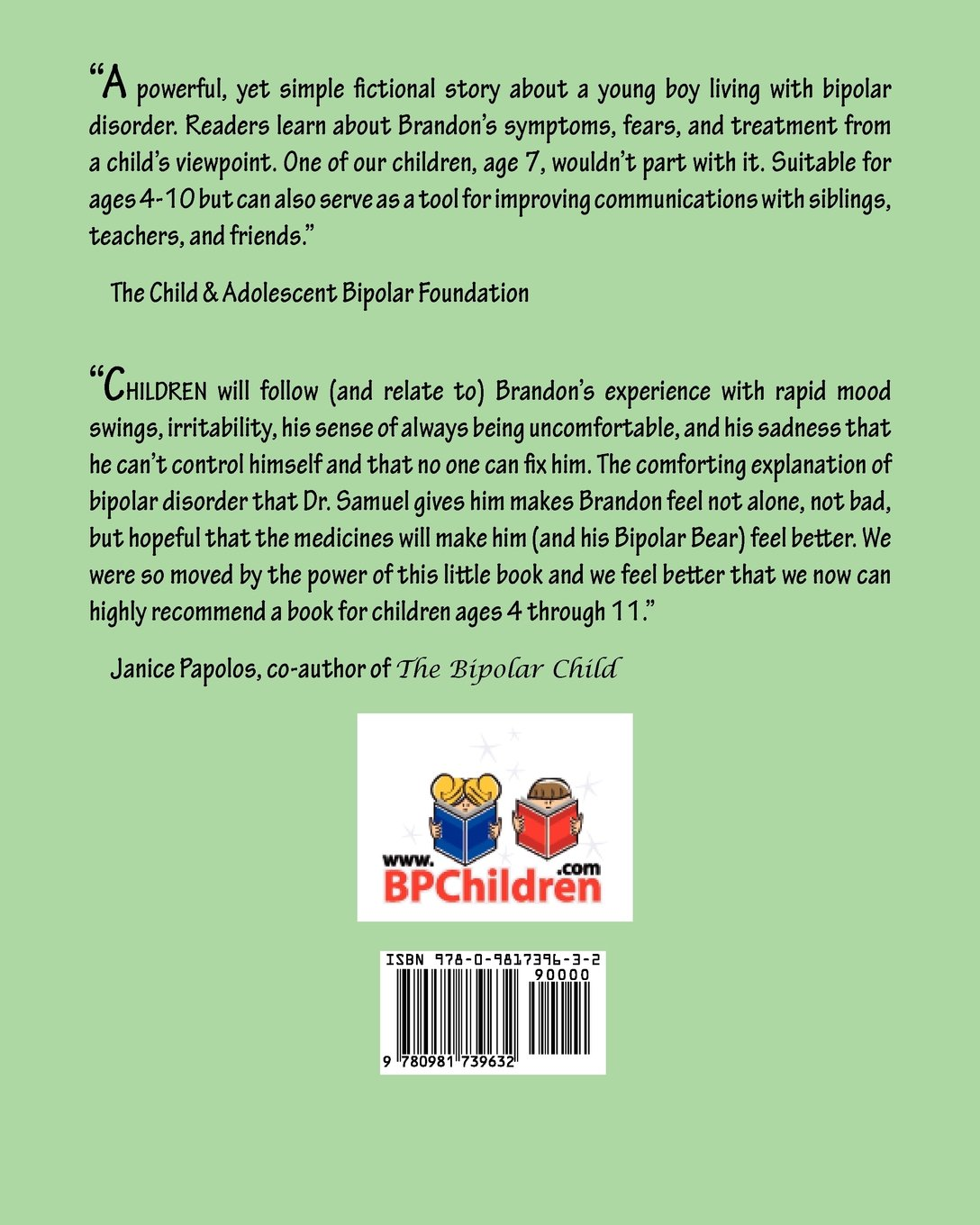 Brandon and the Bipolar Bear: A Story for Children with Bipolar Disorder  (Revised Edition): Tracy Anglada, Jennifer Taylor, Toby Ferguson:  9780981739632: ...
