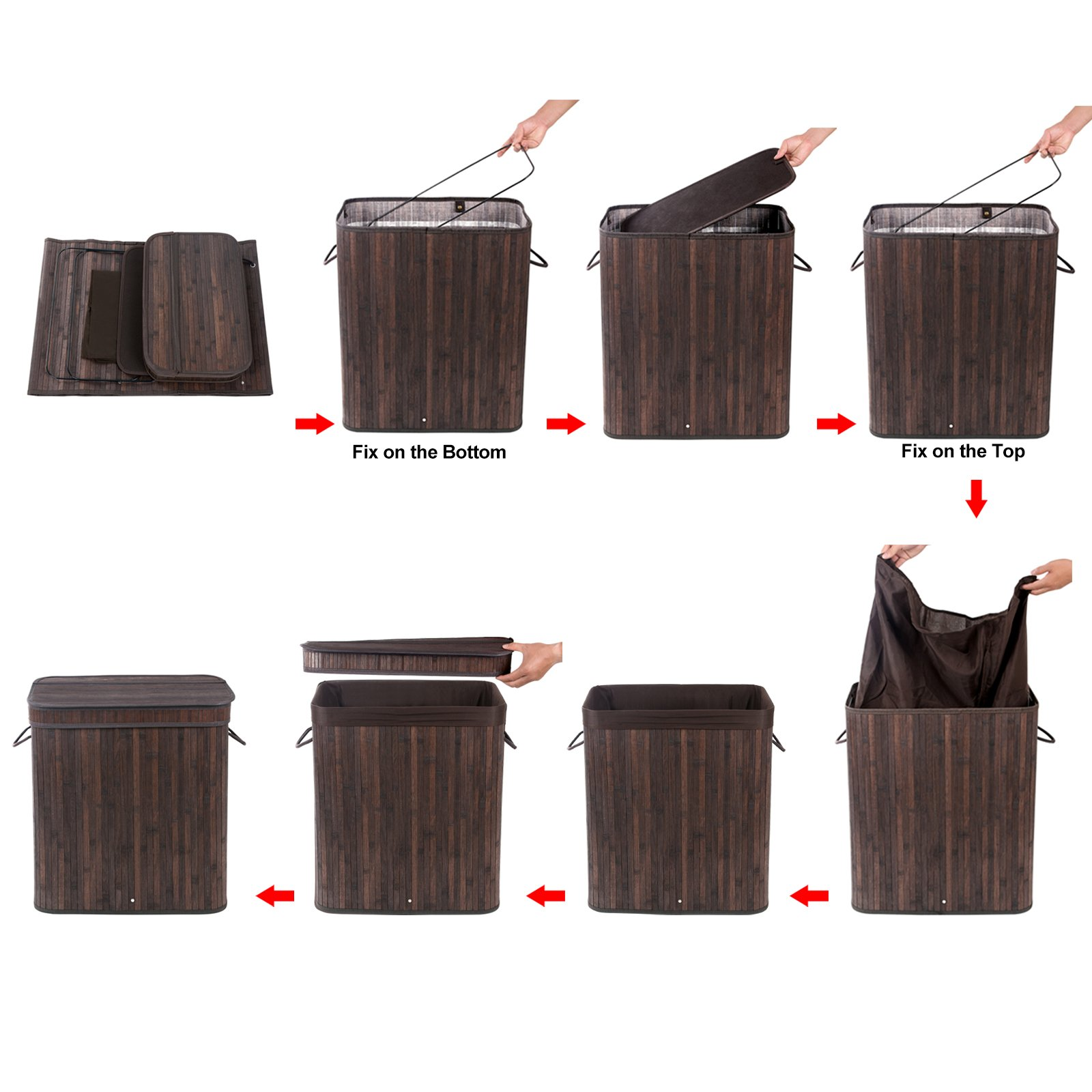 SONGMICS Folding Laundry Basket with Lid Handles and Removable Liner Bamboo Hampers Dirty Clothes Storage Rectangular Dark Brown ULCB63B by SONGMICS (Image #7)