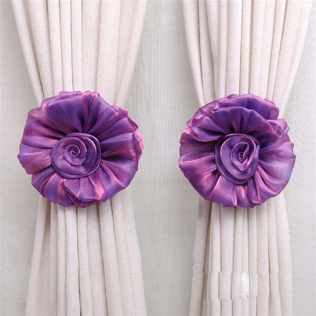Rose flower Curtain tieback(17×3CM),Tuscom (Purple)