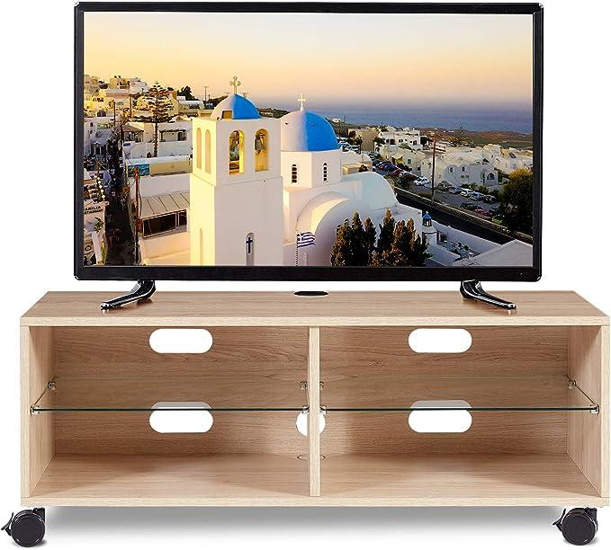 RFIVER Mueble TV Modular con Ruedas de Color Roble 110x40x44 ...