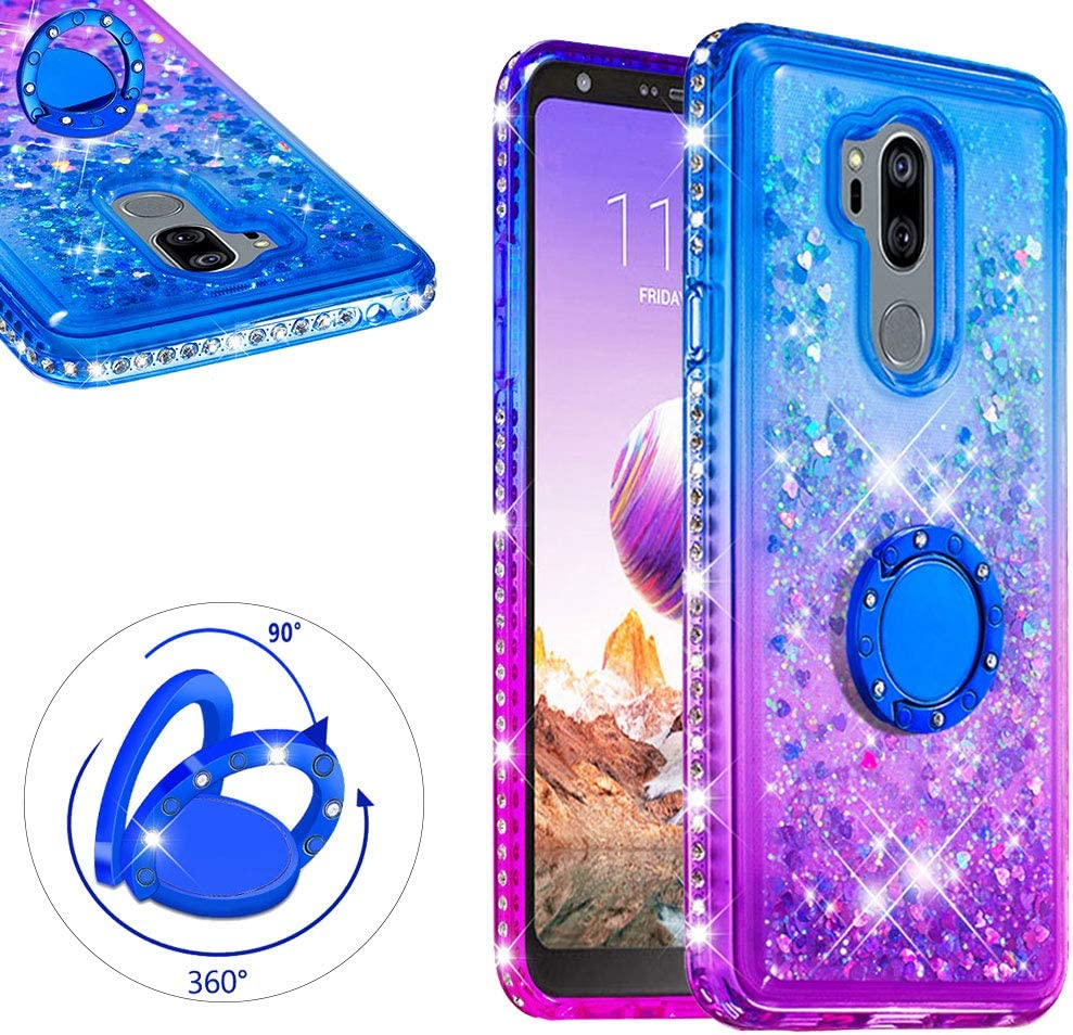 LCHDA for LG G7 ThinQ Liquid Glitter Case with Ring Holder Bling Diamond Bumper Cover Floating Flowing Quicksand Stand Kickstand For LG G7 ThinQ - Pink + Blue