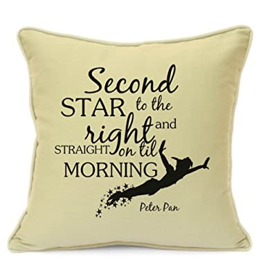 Presents Gifts for Teens Kids Boys Girls Peter Pan Lovers Fans Birthday Christmas Xmas Second Star to Right and Straight On Til Morning Cushion Cover 18 inch 45 cm Home Decorations