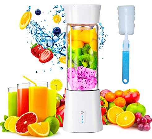 Mini Portable Blender, USB Rechargeable Electric Juice Extractor Machines, 380ml Personal Size Baby Food Smoothie Milkshake Maker Fruit Mixer Juicer