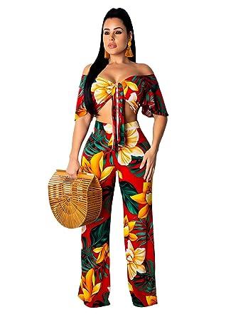 a07c008de71 Women Floral 2 Piece Outfits Clubwear Summer Crop Top Flare Pants Suit Set  Yellow S