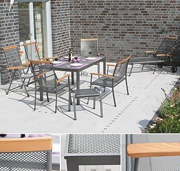 SIENA GARDEN Gartenmöbel Set Aus Eisen U201eMateriau201c, 2 Stapelsessel, 2  Klappsessel