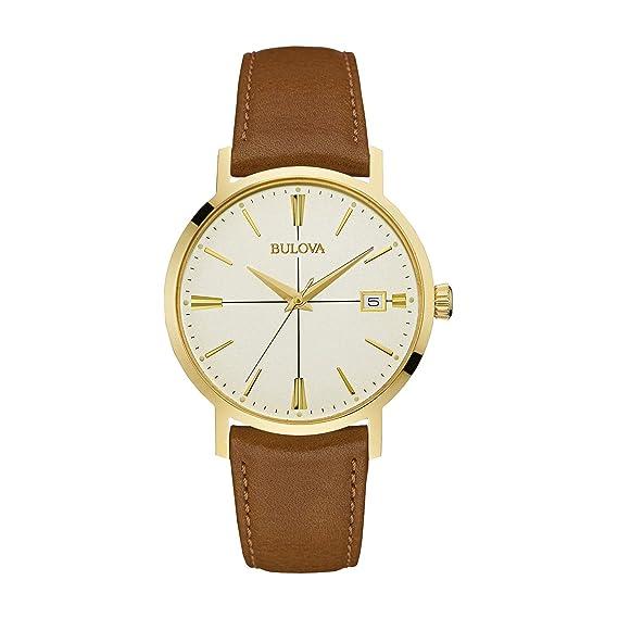 Bulova Becerro 20 Para Mm 97b151 Hombre Reloj Café De Piel CxBerdo