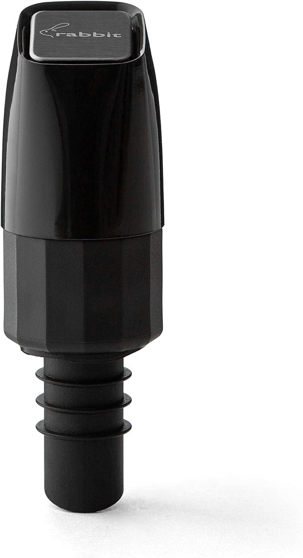Rabbit Aerating Pourer, Dual Function Bottle Stopper, Black