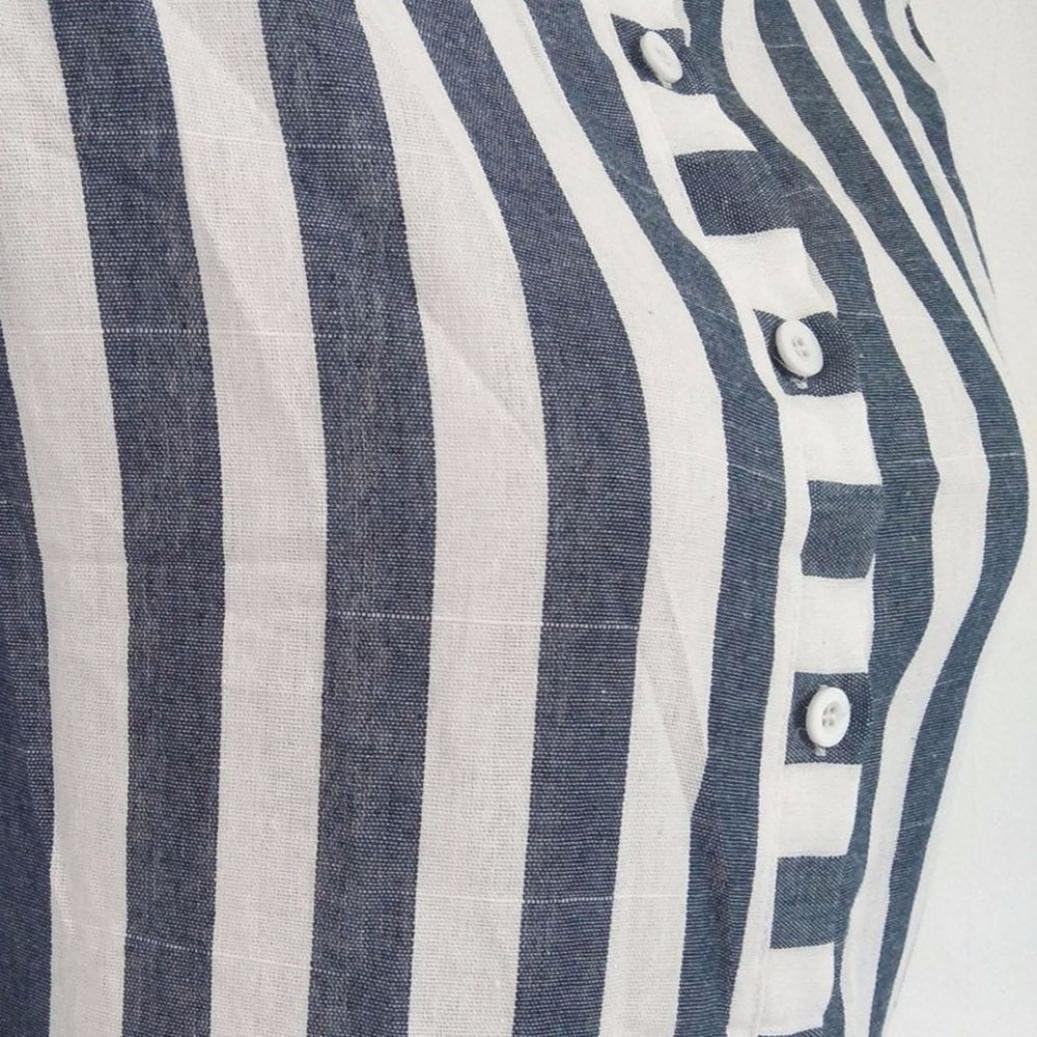 CUCUHAM Women Horn Sleeve Striped Half Sleeve Tops Long Blouse