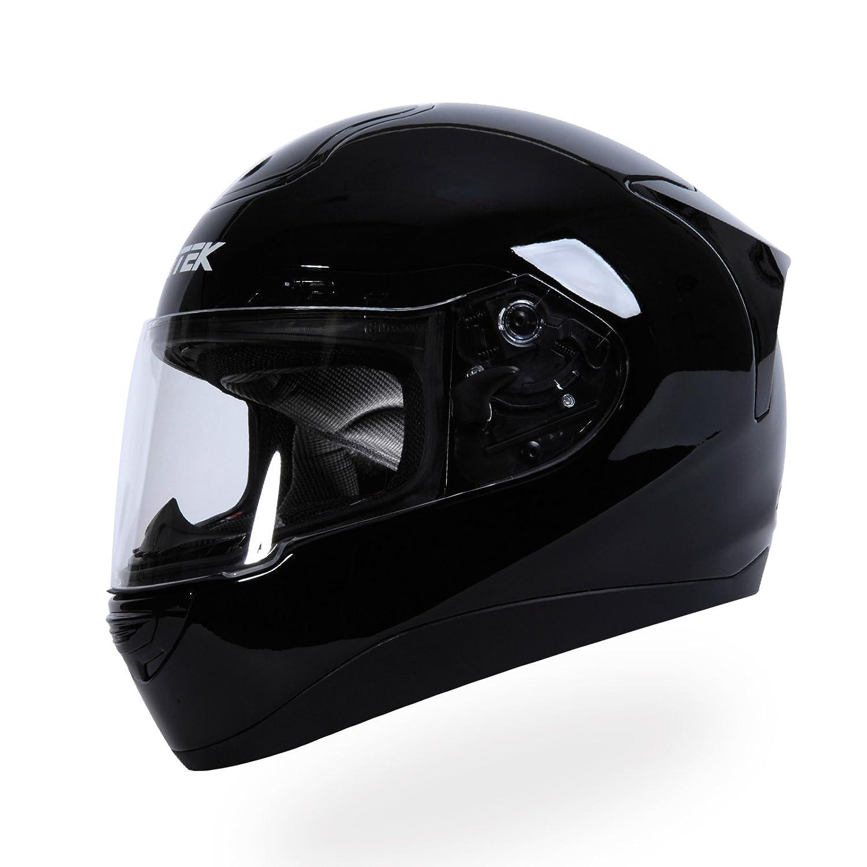 Glossy Black Large Nitek P1 FullFaced Motorcycle Street Helmet