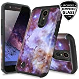 TJS LG ARISTO 2/ARISTO 2 Plus/Tribute Dynasty/REBEL 3 LTE/Zone 4/Fortune 2/K8 2018/Risio 3 Case, With [Full Coverage Tempered Glass Screen Protector] Slim Hybrid Shockproof Rugged Case (Stardust)