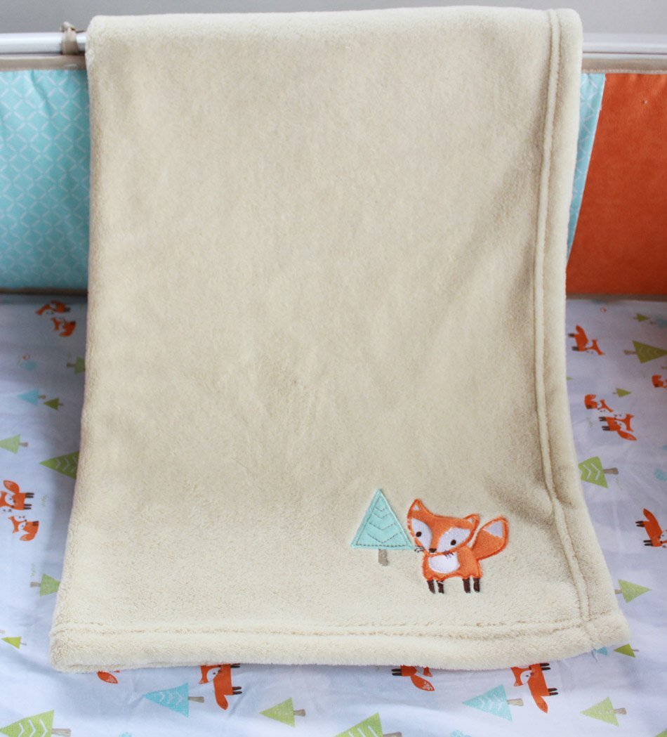 NAUGHTYBOSS Unisex Baby Bedding Set Cotton 3D Embroidery Prairie Fox Quilt Bumper Bedskirt Fitted Blanket 8 Pieces Color Matching by NAUGHTYBOSS (Image #1)