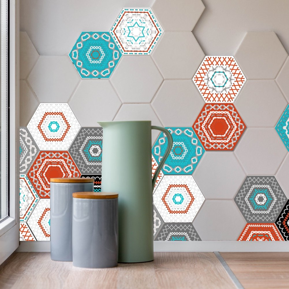 24* Mirror Sticker Selfadhesive Hexagon Mosaic Tiles Decorative Wall Sticker Art