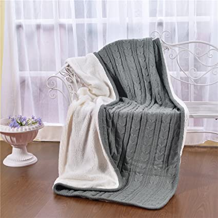 Amazon Knitted Dual Cable Throw With Lining Home Decoration