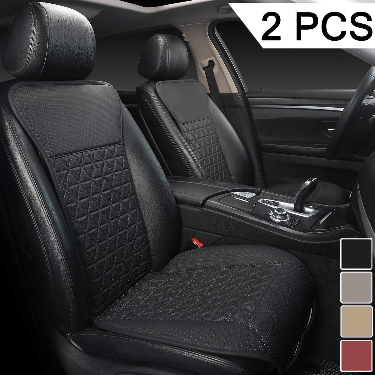 Black Panther 1 Pair Luxury PU Car Seat Covers Protectors for Front Seats, Triangle Pattern, Compatible with 95% Cars (Sedan/SUV/Truck/Van/MPV) - Black