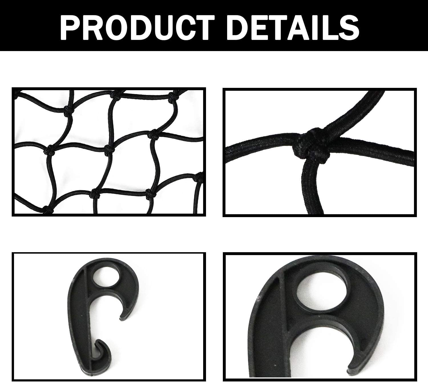 Small 2x2 Mesh Holds Small and Large Loads Tighter 12 Adjustable Hooks for Rooftop Cargo Carrier ATV UTV Cargo Hitch Dibanyou 22x38 Super Duty Bungee Cargo Net Stretches to 44x76