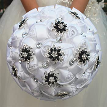 Amazon.com: Bridal Bouquet - Black White with Ribbon and Rhinestone ...