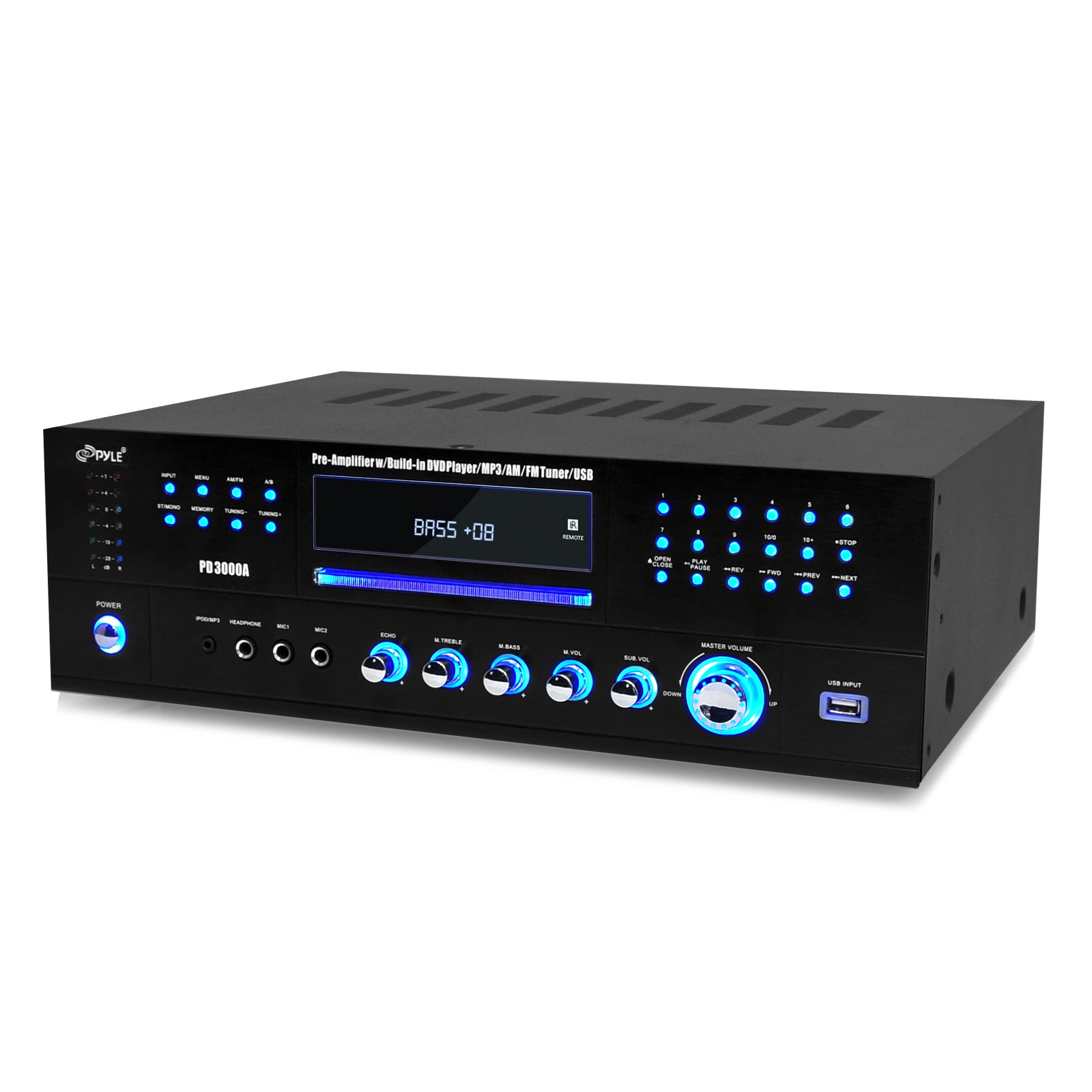 Pyle Home Theater Preamplifier Receiver, Audio/Video System, CD/DVD Player, AM/FM Radio, MP3/USB Reader, 3000 Watt