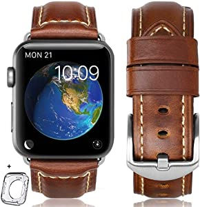 Compatible for Apple Watch Band 42mm 44mm Man, Top Grain Leather Band Replacement Strap iWatch Series 6/5/4/3/ 2/1,Sport, Edition. New Retro Leather (Retro Brown 01+silver Buckle, 42mm 44mm)