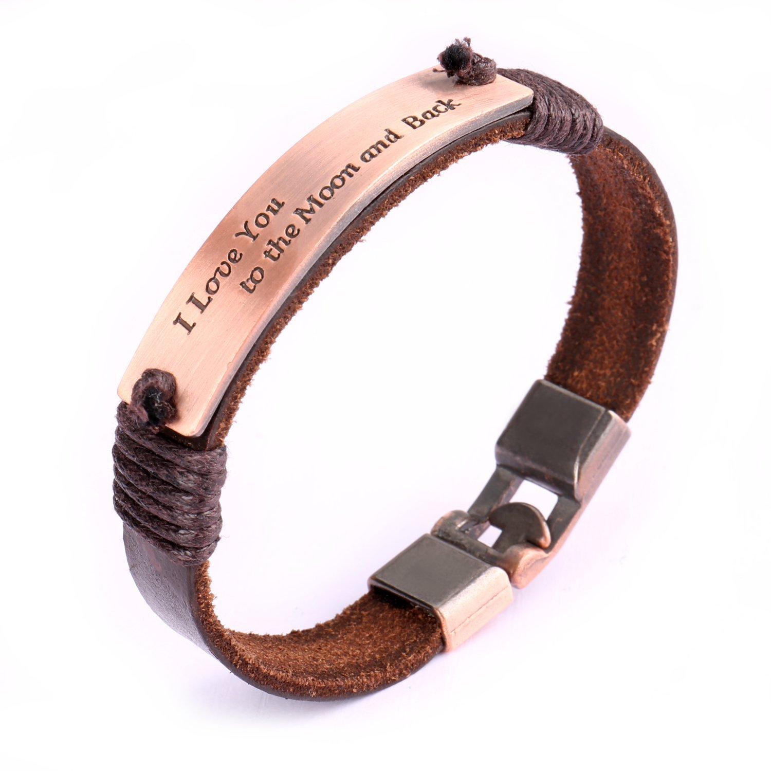 Leather Bracelet, Uhibros Genuine Leather Wrist Band Cuff I Love You to the Moon and Back Rose Stamped Plate Tag LB-02