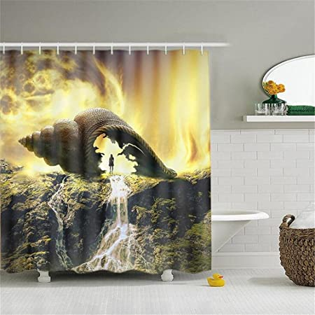 AIKE 3D cortina de ducha digital vidrio creativo impresión impermeable cortinas poliéster verde cuarto de baño mamparas, C: Amazon.es: Hogar