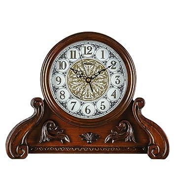 Clock Reloj de Mesa silenciosa Mantel Relojes para salón Dormitorio Reloj de Cuarzo de Madera Maciza Vintage Adornos de Tiempo -MAX Home: Amazon.es: Hogar