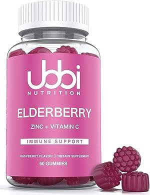 Ubbi Nutrition Elderberry Gummies - Vegetarian - Natural Ingredients - Better Than Syrup or Capsule