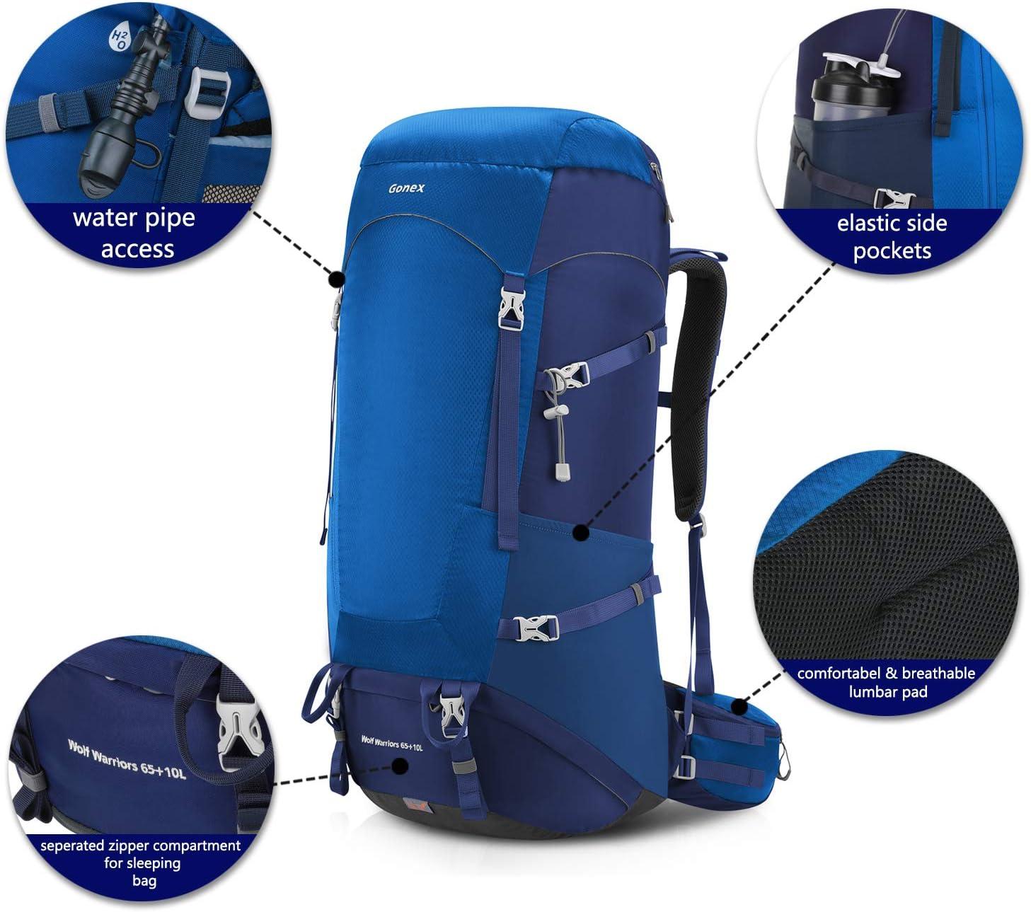 Mochila de Lluvia Gonex 65+10L Mochila de Senderismo al Aire Libre Viajes Senderismo Camping Incluye monta/ñismo