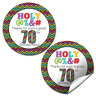 "Holy @%*# 70th Birthday Party Thank You Sticker Labels, 40 2"" Party Circle Stickers by AmandaCreation, Great for Party Favors, Envelope Seals & Goodie Bags: Toys & Games"