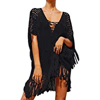YouKD Women's Hollow Knit Tunic Crochet Tops Beach Cover Poncho Summer Beach Cover Up Dress