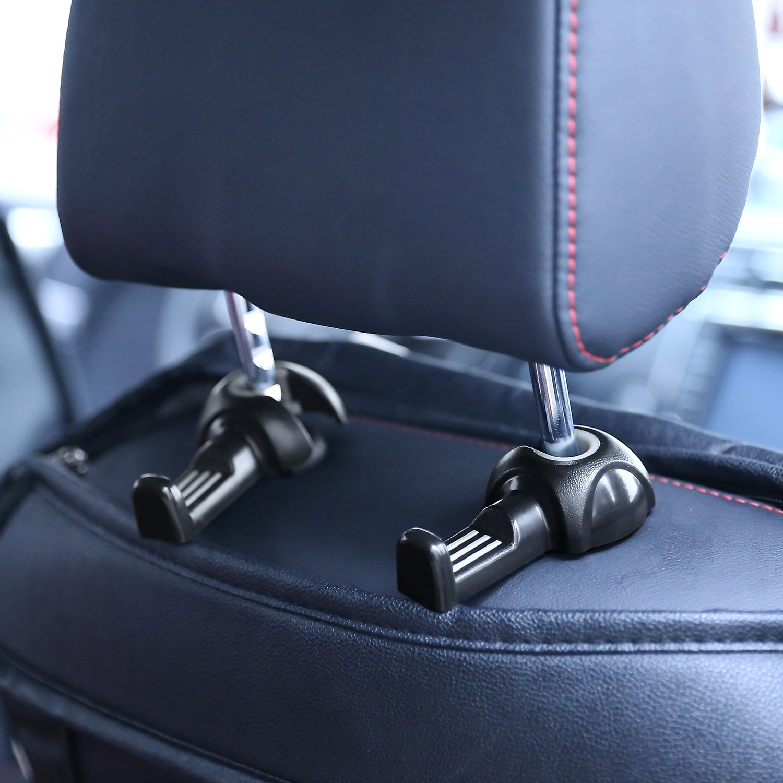 Moko Car Headrest Hanger, [2 Pack] Vehicle Universal Back Seat Holder Hook, for Bag Purse Cloth Grocery (Black) 3R-2112