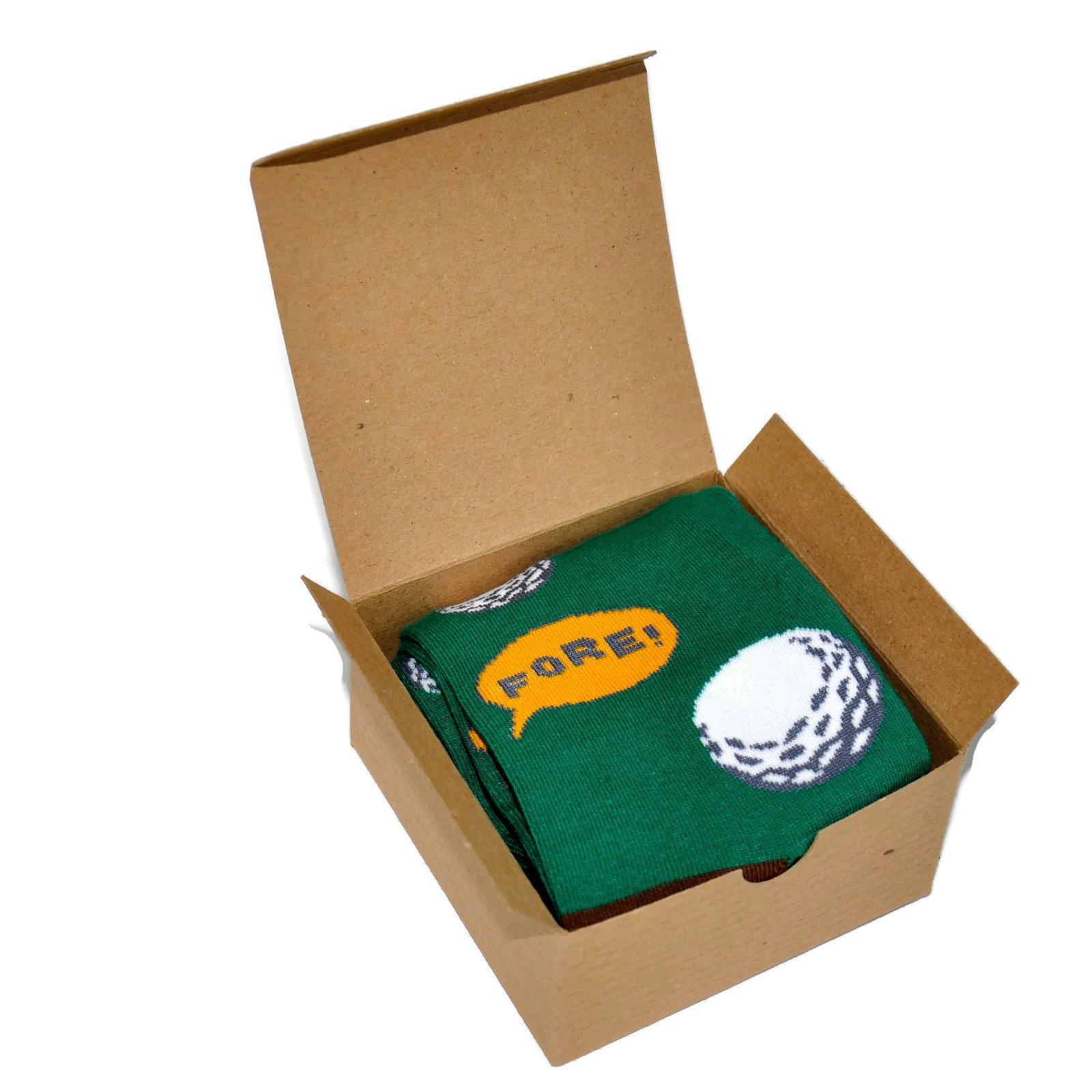 Themed Patterned Men's Novelty Socks 1 Pair in Small Gift Box (Golf - Green)