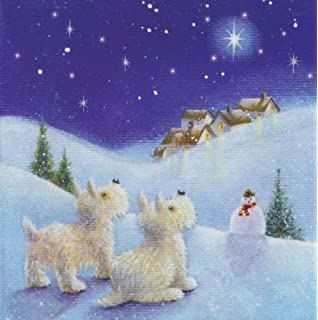 Snowfall Westie Christmas Cards Pack: Amazon.co.uk: Kitchen & Home