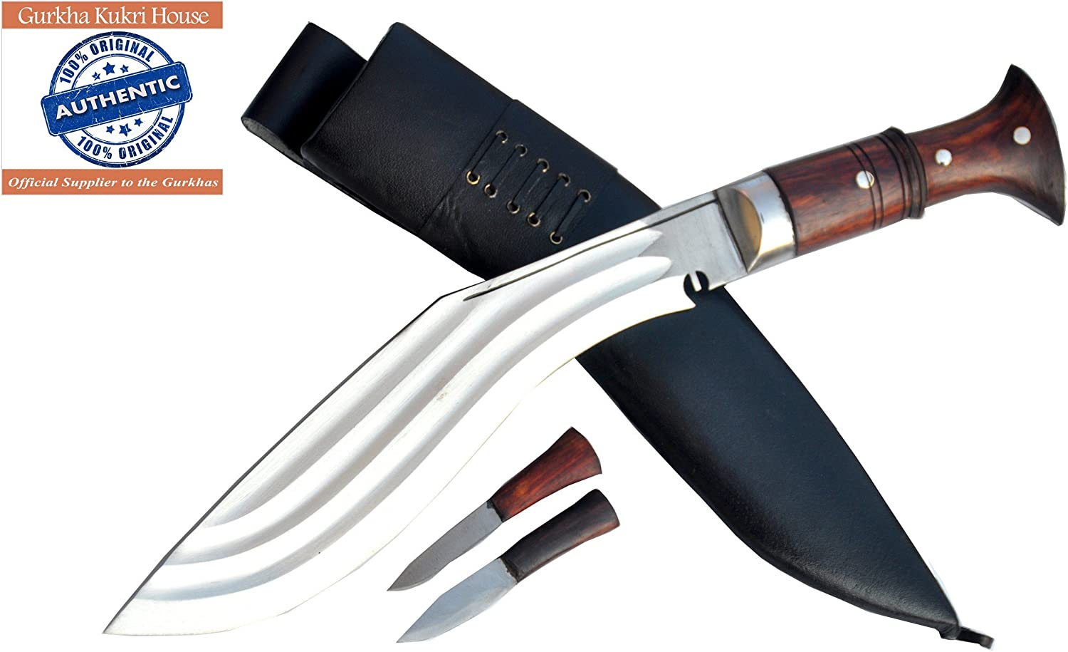 Genuine Gurkha Kukri – authentic 12 3 Chirra 3 fuller the Beast, Full tang wooden handle, black leather Sheath Khukuri- Handmade in Nepal by Gurkha Kukri House – imported by R T Trading Co.