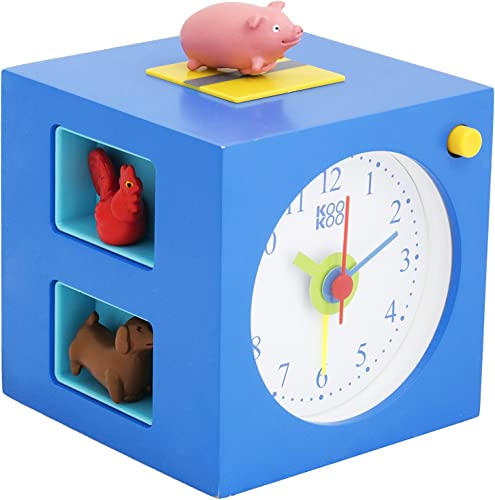 KOOKOO KidsAlarm Blue, Alarm Clock for Children Including 5 Farm Animals and Their Wake-up Calls, Natural Field Recordings, MDF Wood Cabinet