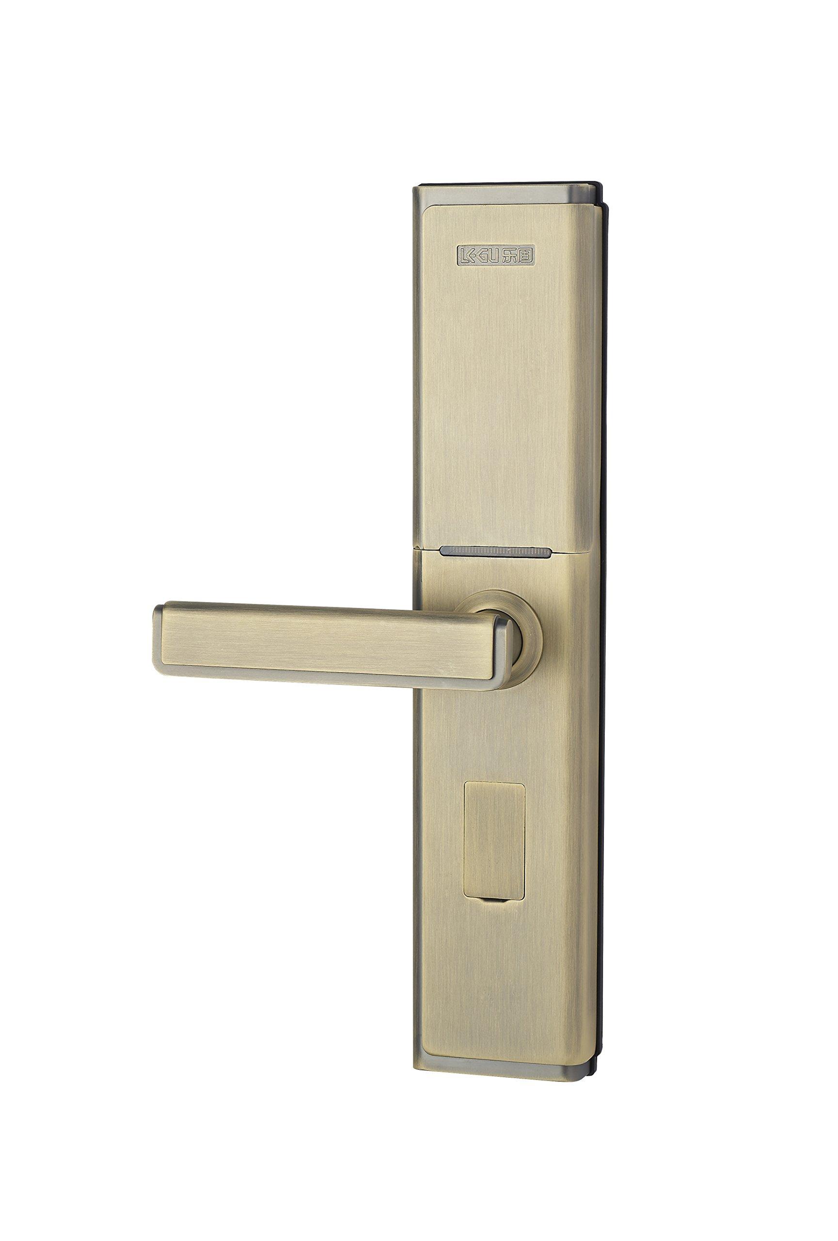 LEGU Fingerprint and Touchscreen Keyless Smart Lever Lock for Door fingerprint+password+card+key/Security intelligent anti-theft lock (Left handed) by LEGU (Image #1)