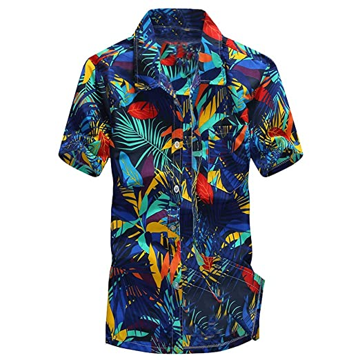 433224b2 Men's Cotton Button Down Short Sleeve Hawaiian Shirt Tropical Aloha Shirts  Blue